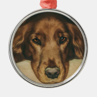 Brown Eyed Golden Irish Dog Silver-Colored Round Ornament