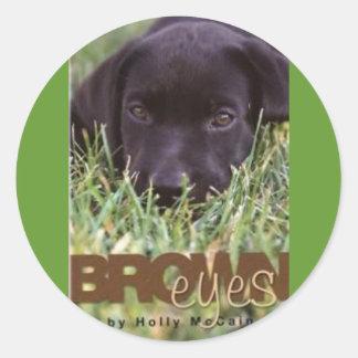 Brown Eyes cover (Custom) Round Sticker
