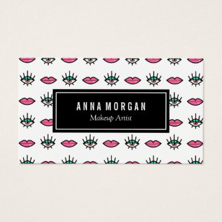 Brown Eyes & Pink Lips Kitschy Makeup Artist Business Card