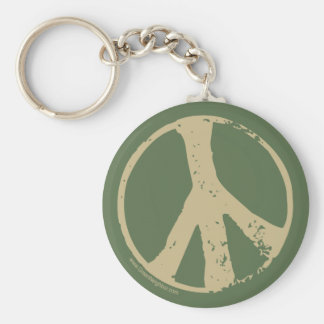 Brown Faded, Grunge Style Peace Sign Keychains