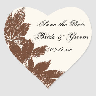 Brown Fall Leaf Stamp Wedding Save the Date Heart Sticker