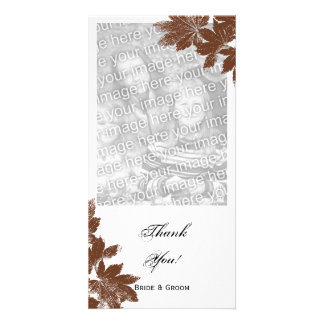 Brown Fall Maple Leaf Stamp Thank You Custom Photo Card