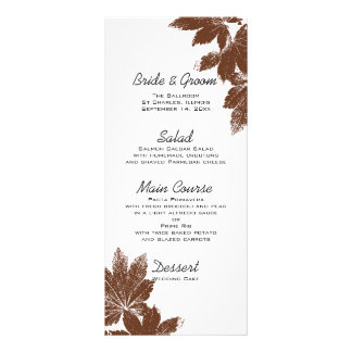 Brown Fall Maple Leaf Stamp Wedding Menu