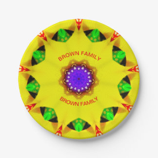 BROWN FAMILY ~ Yellow Christmas Plate Fractal ~