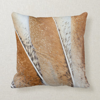 Brown Fanned Turkey Feather Design Throw Pillow