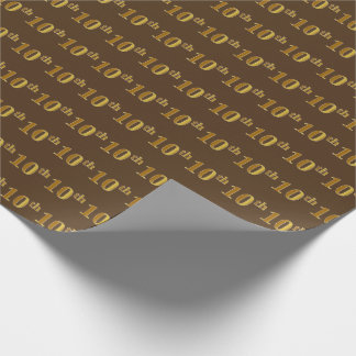 Brown, Faux Gold 10th (Tenth) Event Wrapping Paper