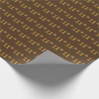 Brown, Faux Gold 11th (Eleventh) Event Wrapping Paper