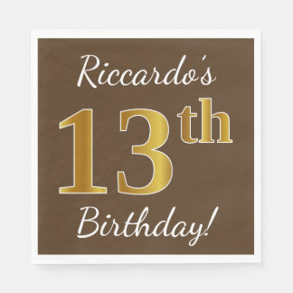 Brown, Faux Gold 13th Birthday + Custom Name Paper Napkin