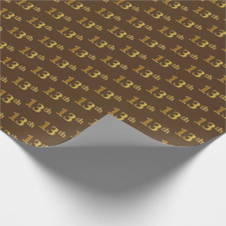 Brown, Faux Gold 13th (Thirteenth) Event Wrapping Paper