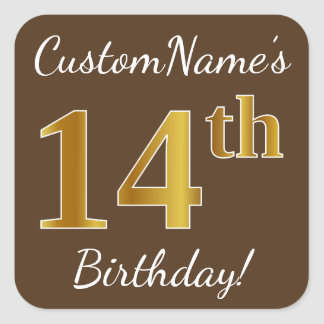 Brown, Faux Gold 14th Birthday + Custom Name Square Sticker