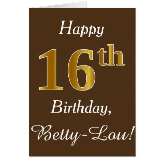 Brown, Faux Gold 16th Birthday + Custom Name Card