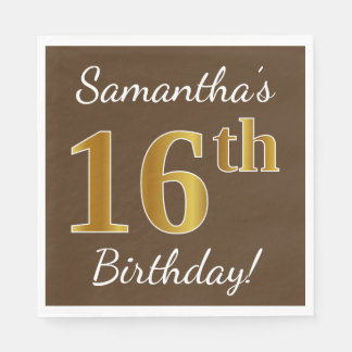 Brown, Faux Gold 16th Birthday + Custom Name Disposable Napkins