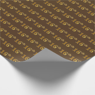Brown, Faux Gold 16th (Sixteenth) Event Wrapping Paper