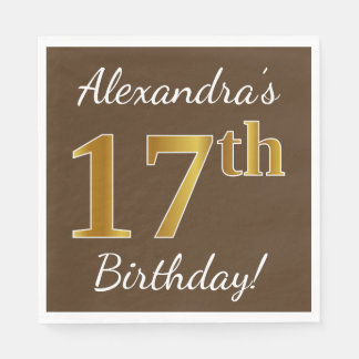 Brown, Faux Gold 17th Birthday + Custom Name Paper Napkin