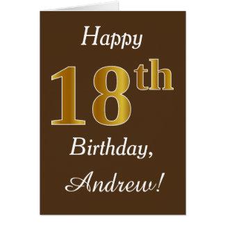 Brown, Faux Gold 18th Birthday + Custom Name Card