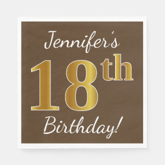 Brown, Faux Gold 18th Birthday + Custom Name Paper Napkin
