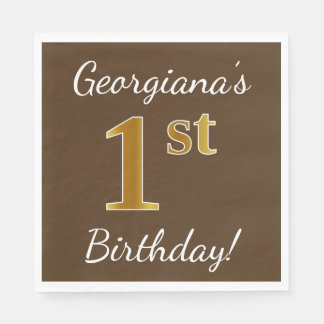 Brown, Faux Gold 1st Birthday + Custom Name Disposable Napkin