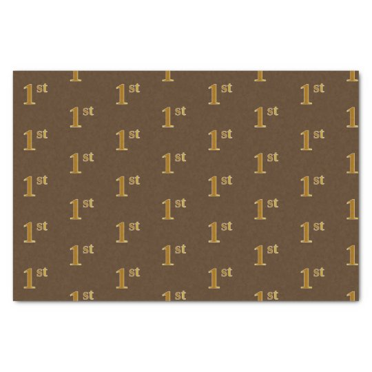 Brown, Faux Gold 1st (First) Event Tissue Paper