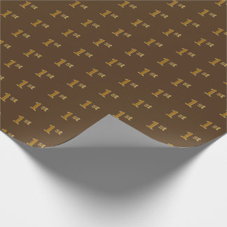 Brown, Faux Gold 1st (First) Event Wrapping Paper