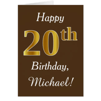 Brown, Faux Gold 20th Birthday + Custom Name Card