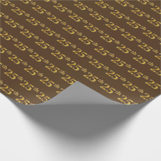 Brown, Faux Gold 25th (Twenty-Fifth) Event Wrapping Paper