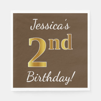 Brown, Faux Gold 2nd Birthday + Custom Name Disposable Napkins