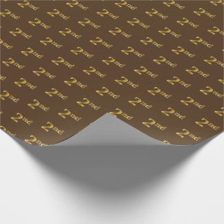 Brown, Faux Gold 2nd (Second) Event Wrapping Paper