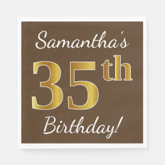 Brown, Faux Gold 35th Birthday + Custom Name Disposable Napkin