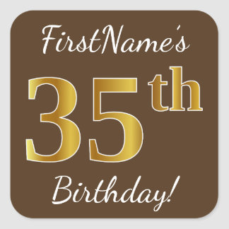 Brown, Faux Gold 35th Birthday + Custom Name Square Sticker