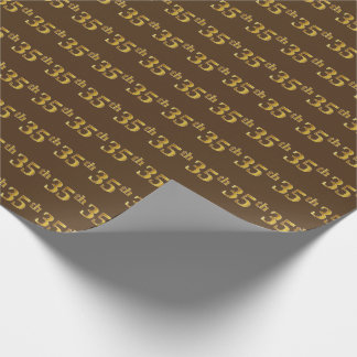 Brown, Faux Gold 35th (Thirty-Fifth) Event Wrapping Paper