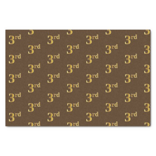 Brown, Faux Gold 3rd (Third) Event Tissue Paper
