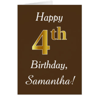 Brown, Faux Gold 4th Birthday + Custom Name Card