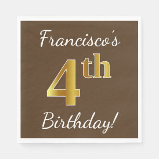 Brown, Faux Gold 4th Birthday + Custom Name Disposable Napkin