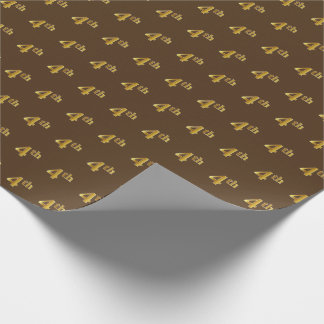 Brown, Faux Gold 4th (Fourth) Event Wrapping Paper