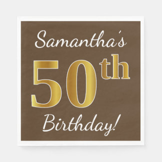 Brown, Faux Gold 50th Birthday + Custom Name Paper Napkin