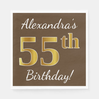 Brown, Faux Gold 55th Birthday + Custom Name Paper Napkin