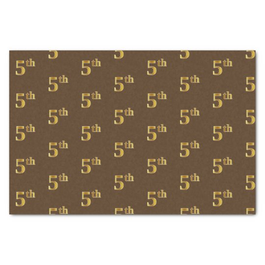Brown, Faux Gold 5th (Fifth) Event Tissue Paper