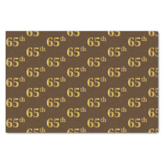 Brown, Faux Gold 65th (Sixty-Fifth) Event Tissue Paper