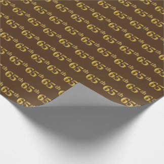 Brown, Faux Gold 65th (Sixty-Fifth) Event Wrapping Paper