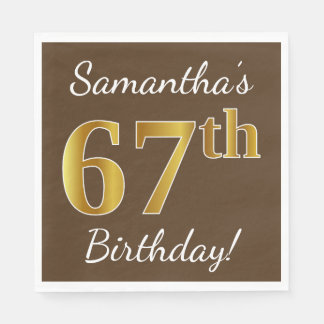Brown, Faux Gold 67th Birthday + Custom Name Disposable Napkin