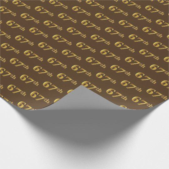Brown, Faux Gold 67th (Sixty-Seventh) Event Wrapping Paper