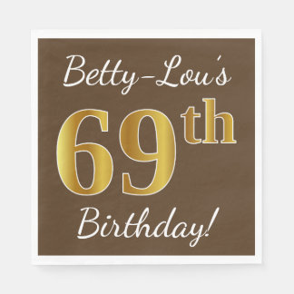 Brown, Faux Gold 69th Birthday + Custom Name Disposable Napkin