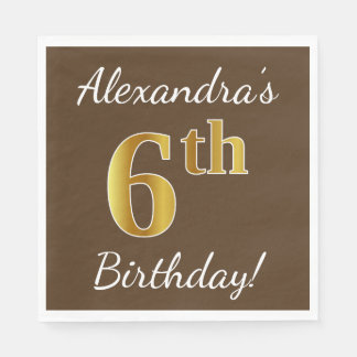 Brown, Faux Gold 6th Birthday + Custom Name Disposable Napkins