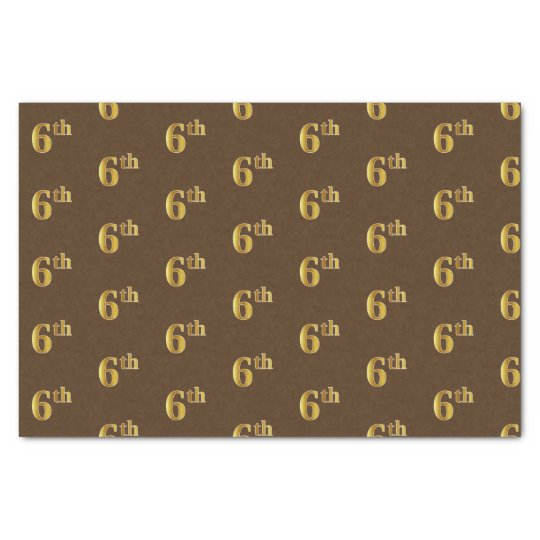 Brown, Faux Gold 6th (Sixth) Event Tissue Paper