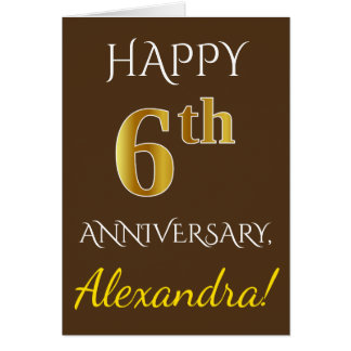 Brown, Faux Gold 6th Wedding Anniversary + Name Card