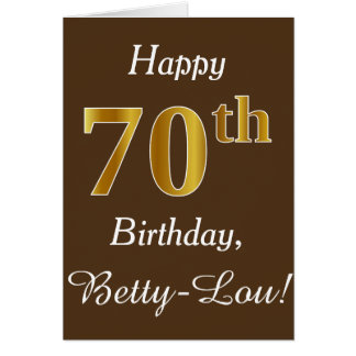 Brown, Faux Gold 70th Birthday + Custom Name Card
