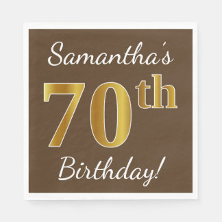 Brown, Faux Gold 70th Birthday + Custom Name Disposable Napkins