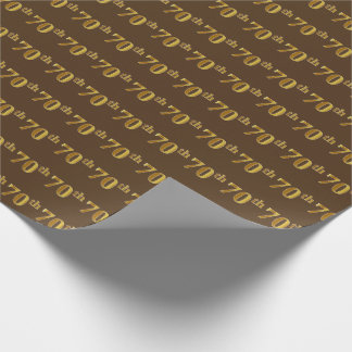 Brown, Faux Gold 70th (Seventieth) Event Wrapping Paper