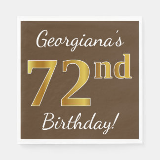 Brown, Faux Gold 72nd Birthday + Custom Name Paper Napkins