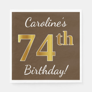Brown, Faux Gold 74th Birthday + Custom Name Disposable Napkin